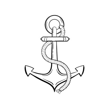 Anchor with rope black ink vector illustration. Sea boat, yacht, ship safety equipment sketch. Ancient anchor vintage engraving. Marine adventure symbol. Sailing club, poster design element Çizim