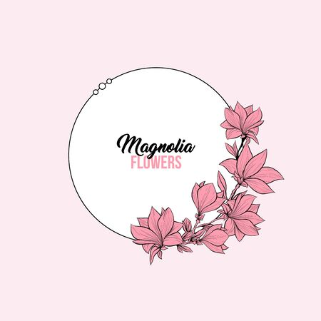 Flowering magnolia vector frame template. Japanese plant in blossom, grandiflora petals hand drawn illustration. Elegant pastel pink background for text with floral decor and white border Çizim
