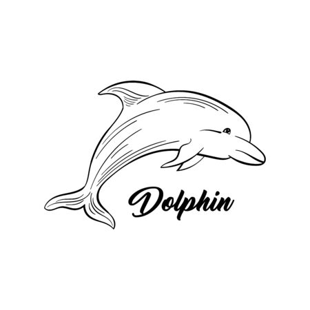 Dolphin monochrome flat vector illustration. Sea animal, intelligent mammal freehand sketch. Saltwater creature black ink drawing. Marine life, fauna representative sketched outline with inscription