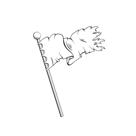Ancient flag black and white illustration. Old weathered standard, knights, warriors accessory monochrome sketch. Waving banner, gonfalon on wooden pole engraving. Historic reenactment club Çizim