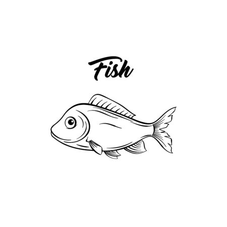 Fish black and white vector illustration. Marine animal with fins freehand sketch. Saltwater species, freshwater carp drawing. Healthy nutrition, gourmet menu ingredient. Seafood restaurant
