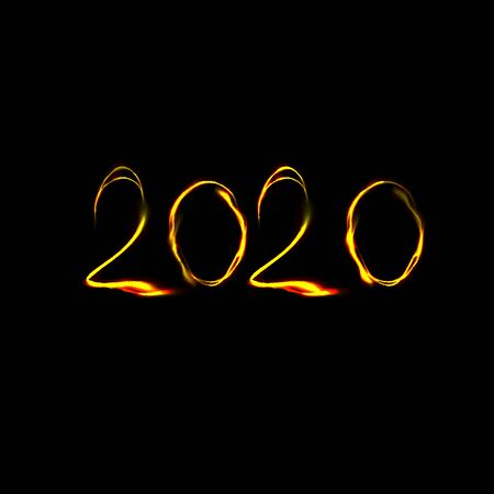 New Year 2020 numbers in fire style. Vector illustration on black background