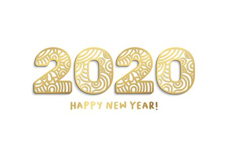 2020 happy new year golden laser cut lettering. Chinese zodiac with ornate numbers isolated on white background.Paper cut clipart. New Year greeting card, banner vector template Çizim