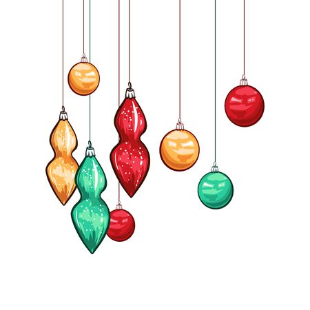 Christmas baubles hand drawn vector illustration. Colorful glass balls hanging on threads, traditional decorative toys. Winter season holiday celebration symbol. Xmas festive accessories, garland