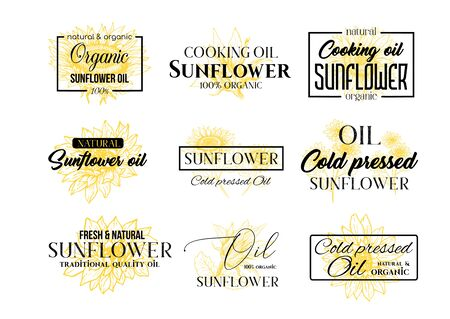 Sunflower Oil   Set, Technology Wildflower   Templates for Branding Identity. Yellow and Black Vector Isolated Flowers Hand Drawings with Lettering and Frames