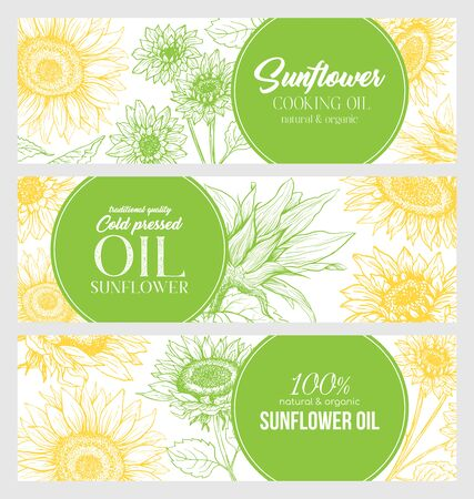 Sunflower Oil Print Template. Yellow and Orange Banners for Thanksgiving Holiday or Packaging Brand Identity. Vector Illustration