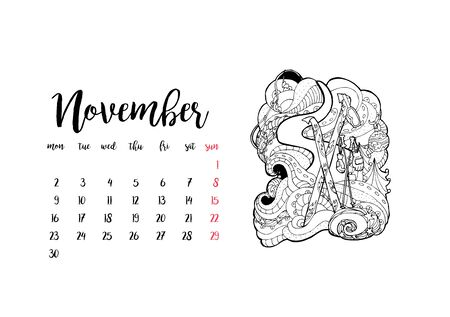 Monthly desk calendar horizontal template 2020 for month November. Week starts Monday