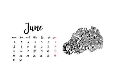 Monthly desk calendar horizontal template 2020 for month June. Week starts Monday