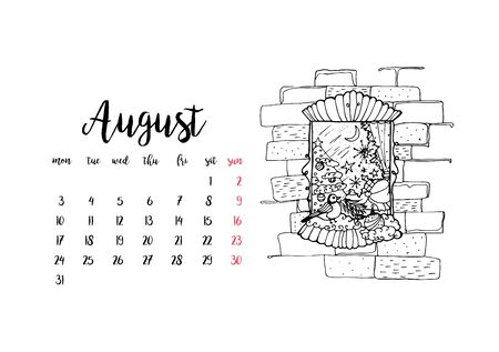 Monthly desk calendar horizontal template 2020 for month August. Week starts Monday