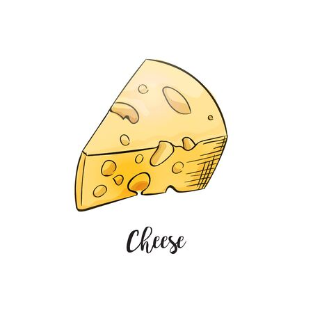 Cheese cartoon handdrawn and colored. Big pieces of maasdam or swiss type dairy product with holes. Vector game style illustration isolated on white background
