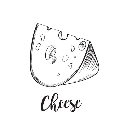 Cheese line art handdrawn. Big pieces of maasdam or swiss type dairy product with holes. Vector flat style illustration isolated on white background Illusztráció