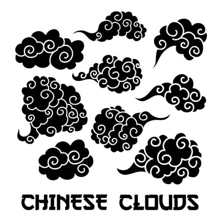 Black Clouds and wind blows silhouettes vector illustration. Smoke isolated clipart. Chinese art abstract drawing. Sketch clouds, overcloud set. Isolated design elements for SVG laser cutting files