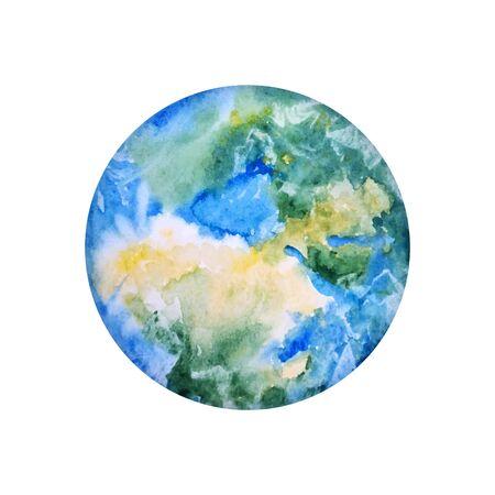 Terre dessinée à la main. Globe en Texture Aquarelle. Illustration de la carte du monde Paint Splash isolé sur fond blanc. Sauver la planète, concept d'icône d'écologie.