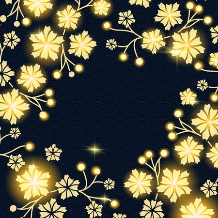 Chinese Lunar 2018 Year Card with Dog Paw symbol. Black background with wave chinese pattern and glowing lights, lanterns and sakura or lotus flowers branches. Standard-Bild - 129202906