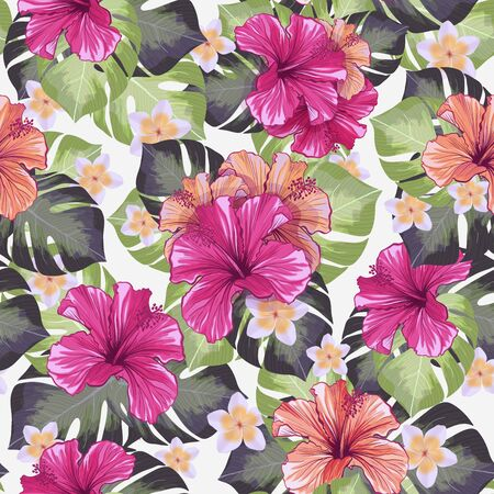 Hawaiian Hibiscus Fragrance Flower and Monstera Leaves Seamless Pattern. Mallow Chinese Rose Flora and Botany Palms with Petals. Tropical Karkade or Bissap Herbal Tea, Crimson Flora Blossom. Stock fotó