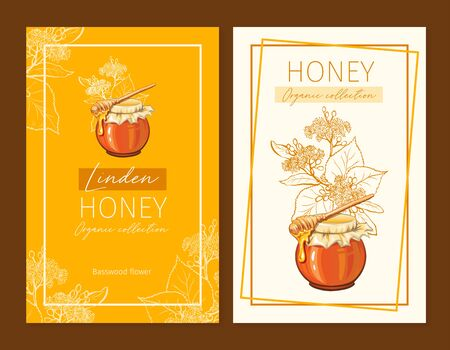Linden Honey Print Template. Yellow and Orange Banners for Thanksgiving Holiday or Packaging Brand Identity.