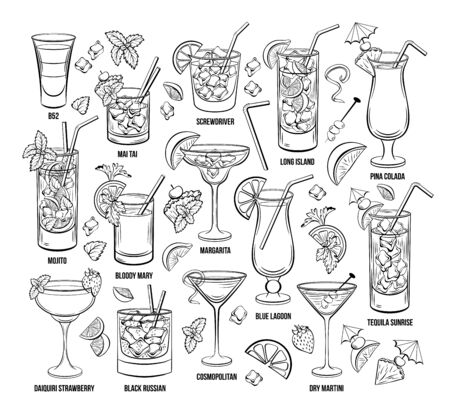 Summer Alcoholic Cocktails Set. Hand Drawn Beverages or Drinks. Engraving Menu or Poster for Beach Party vector illustration.
