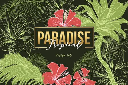 Rest in tropical paradise banner vector template. Exotic resort, tourism agency, summer recreation advertising poster layout. Jungle flora, palm leaves and flowers illustration with lettering