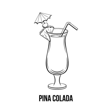 Pina colada glass black and white hand drawn illustration. Tropical alcoholic drink with umbrella, straw. Beach cocktail. Cocktail with pineapple slice ink drawing. Bar menu, poster design element