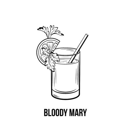 Bloody Mary vector black and white illustration. Strong tomato drink shot with celery and lemon on glass. Alcoholic beverage with straw ink drawing. Restaurant menu, poster design element