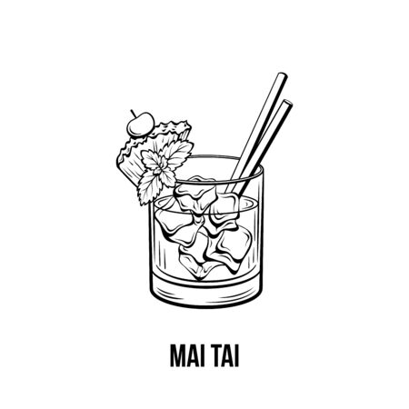 Mai Tai cocktail vector illustration. Monochrome alcoholic cocktail, strong drink with pineapple and cherry ink drawing. Tropical beverage with ice and two straws. Bar menu, poster design element