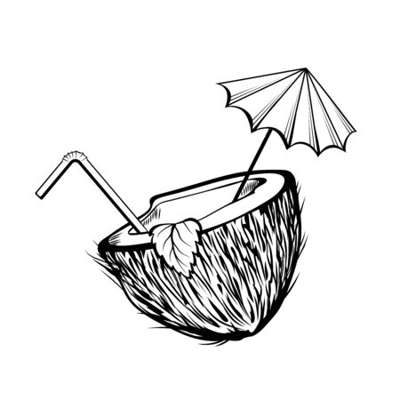 Coconut cocktail black and white illustration. Coco half with umbrella and straw coloring picture. Summer refreshment, summertime recreation monochrome drawing. Exotic drink, tropical beverage Ilustração