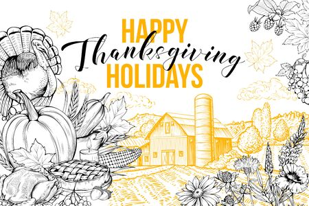 Thanksgiving greeting card vector template. November tradition, happy holidays postcard layout. Village landscape, turkey, vegetables harvest and flowers hand drawn illustration with typography