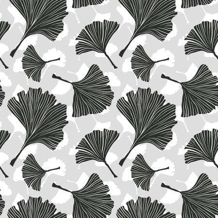Ginkgo Biloba Plant Seamless Pattern, Large Black Leaves Silhouettes on Light Background. Vector Monochrome Illustration. Ayurvedic Medicine Theme. Japanese Tree.