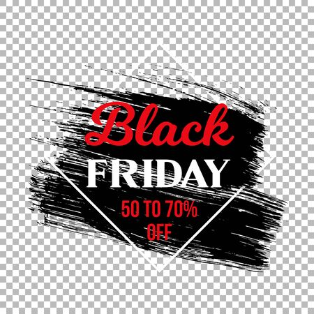 Black friday clearance sale banner template. Seasonal wholesale, shopping event advertising. Limited time offer promotion poster element. Ink brush stroke with typography on transparent background Ilustracja
