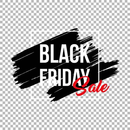 Black friday clearance sale banner template. Seasonal wholesale, shopping event advertising. Limited time offer promotion poster element. Ink brush stroke with typography on transparent background  イラスト・ベクター素材