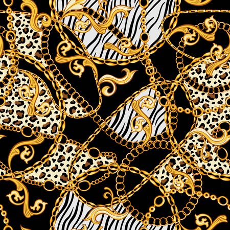 Golden Chains, Baroque Ornaments mixed with Tiger and Zebra Animals Patterns. Seamless pattern with black background. The Eighties stylized fashion  イラスト・ベクター素材
