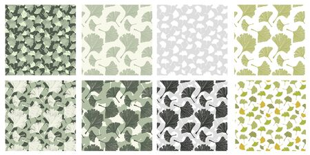 Japanese Patterns Collection with Gingko Biloba Plant Leaves. Vector Botanical, Healthy Textures Pack for Print Design and Fabric Textile, Scrapbook. Pale Sage Color and Ivory Background. Large Scale Çizim