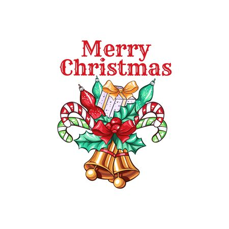 Merry Christmas wishes cartoon vector greeting card template. Gift box, candy sticks and golden bells with mistletoe twig illustration. Xmas banner concept. December holidays poster design element Иллюстрация