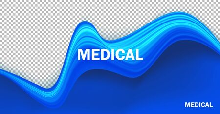 Blue realistic liquid texture background. Wavy fluid paint flow isolated on transparent backdrop. Medical, healthcare institution banner, poster design with text space and typography inscription Иллюстрация
