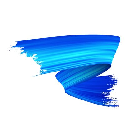 Freehand gouache paint brush stroke realistic illustration. Vivid acrylic paint zig zag smear isolated on white background. Grunge style glowing texture with metallic blue color gradient effect Иллюстрация