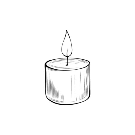 Burning candle hand drawn vector illustration. Candlelight outline symbol isolated on white background. Decorative aromatherapy accessory, glowing round candlestick monochrome sketch drawing