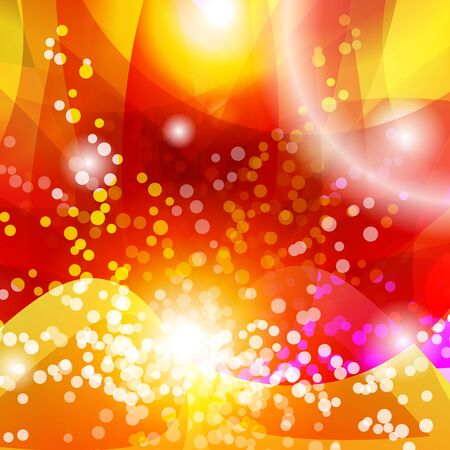 Happy Diwali Indian Vector Background with Particles. Pink, Yellow and Orange Shiny Gradients. Isolated Backdrop for Design with Lights and Petals