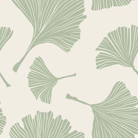 Ginkgo Biloba Botany Plant, Line art Pale Sage Colored Leaves on Ivory Background. Health Monochrome Pattern. Ayurvedic Medicine Theme. Vector Illustration for Wallpaper or Textile Design