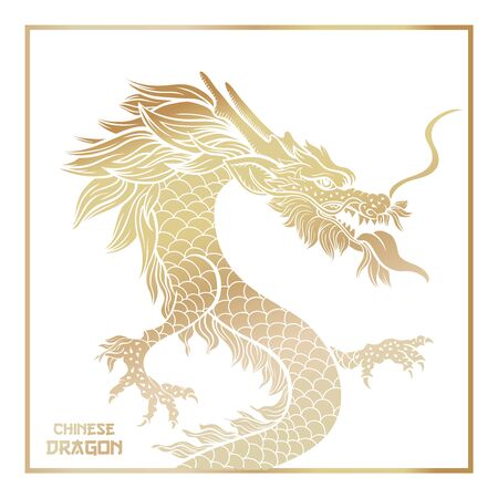 Chinese mythic dragon poster template. Legendary oriental mythological creature on white background. Asian ceremonial serpent in threatening pose hand drawn illustration. New Year banner design layout