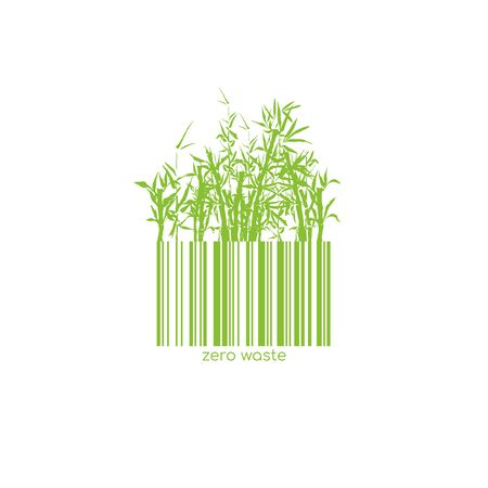 Zero Waste Conceptual with Barcode Bamboo Green Plant. Vector Isolated Bar Code Logo for Plastic free Natural Shop Products. Paper or Wooden Reuse Technology