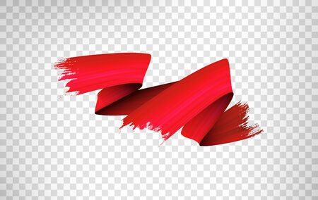 Freehand paint brush stroke realistic illustration. Flamboyant acrylic paint zig zag smears isolated on transparent background. Grunge style texture with metallic glow and red color gradient effect