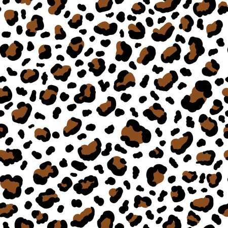 Tiger Skin Vector Seamless Pattern. Textured Backdrop for Fabric Textile Design. Abstract Hand Drawn Spots for Clothing Prints