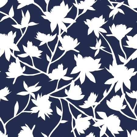 Clover Flowers Seamless Vector Pattern. White Silhouettes on Dark Blue Trendy Color Background. Honey Flowers Surface Texture. Simple Modern Printable Wallpaper Design or Scrapbook Paper Texture