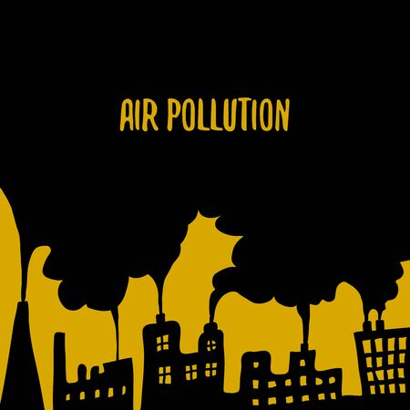 Air Pollution Cartoon Vector Illustration. Doodle Drawings Poster with Smoke and Houses in Black and Orange Colors