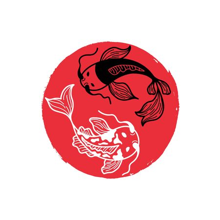 Japanese Carp Koi on the Red Round Brush Spot. Painted Circle Icon. Asian Traditional Symbol with Decorative Fishes. Cover Design for Sushi Restaurant Menu