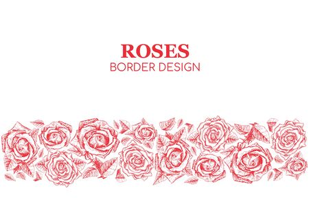Red Roses Contour Banner or Greeting Card Flowers Vector Pattern, Print Background with text. Flowers for Valentines Day. Wedding Invitation Design. Horizontal Poster with Engraved Freehand Drawings. Print Background Ilustração