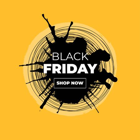 Black Friday Sale Vector Banner with Ink Brush Paint Circle and Black Splashes.Label Shop Design with Shop Now Outline Button