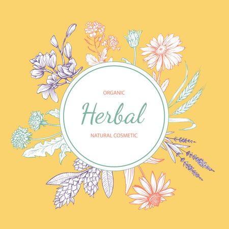 Natural cosmetics hand drawn vector label. Eco skincare product with herbal ingredients sticker design. Circle frame with wildflowers and lettering on yellow background. Floral border with text