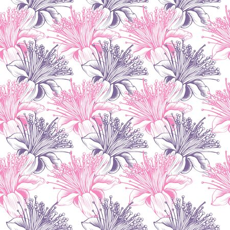 feijoa flower seamless vector pattern. Pink and Violet romantic colors floral pattern for valentines day love design. Fabric textile surface or backdrop