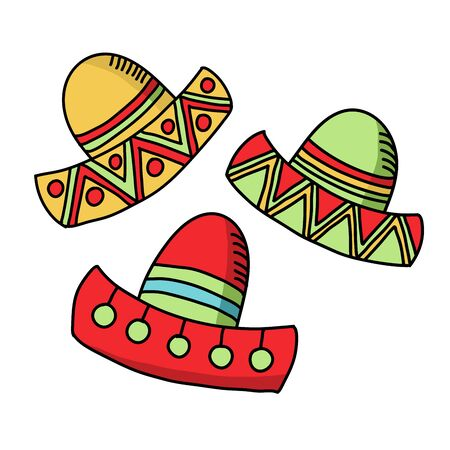 Cinco de mayo funny festive accessory and wearing sombrero or mexican hat. Latin american celebration of 5th of May with flags and flowers, cactus. Festive Mexican clipart
